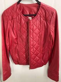 La creme Red Genuine Lamb Leather Jacket (Size M) 紅色真皮皮褸
