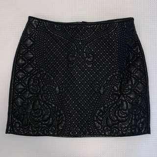 H&M Black Embossed Faux Leather Skirt Size S