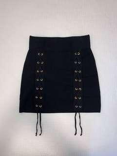 Zara Black Knit Skirt with Lace-Up Feature Size S