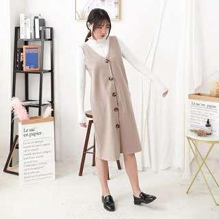 🚚 韓版毛呢排扣連身裙