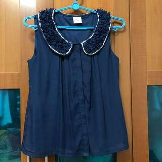 🚚 Blue collared lace work top