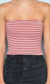 Brandy Melville Jenny Red and white striped tube top