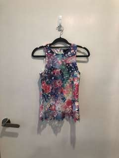 d87021f414 BNWT Bridge by FashMob Rainbow Coloured Sleeveless Crochet Floral Top