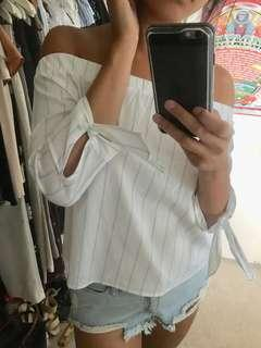 Supre off shoulder blue white stripe top