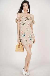 Off shoulder floral dress in beige