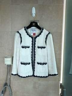 Chanel Jacket White with Blue Trimming