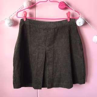 🚚 Zara Olive Green Corduroy Skirt