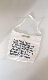 American Apparel Cities Print Denim Oversized Tote bag