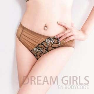 Taiwan【Bodycode巴蒂蔻】高級刺繡蕾絲中腰三角褲 Lace Embroidered women panties brief