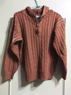 🚚 紅褐色針織象牙排扣上衣 肩寬鬆修腰