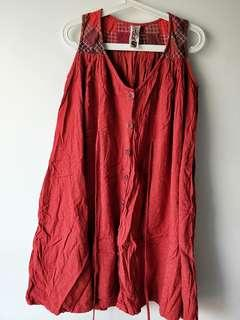 🚚 Red Cotton Embroidered Dress
