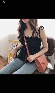 🚚 Scrunched smoked elastic ulzzang cami top