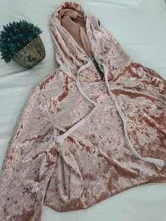 Satin pink velvet hoodie