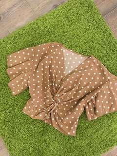 Brown polka dot blouse