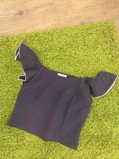Dark blue off shoulder blouse