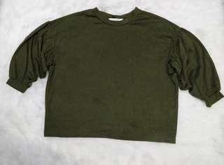 Blouse croop t-shirt import hijau army