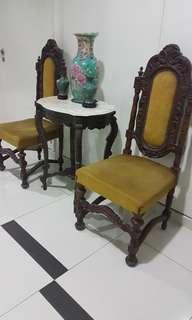 Antique Peranakan table with old oak wood Chairs with Original Velvet .