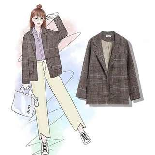 需訂 韓國大熱復古英倫風格紋格仔西裝外套