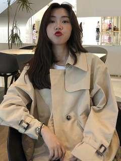 需訂 韓國大熱寬鬆休閒風衣風鏤外套