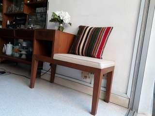 vintage mid century teakwood seat w side table or telephone seat