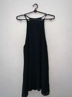 Black halter swing dress