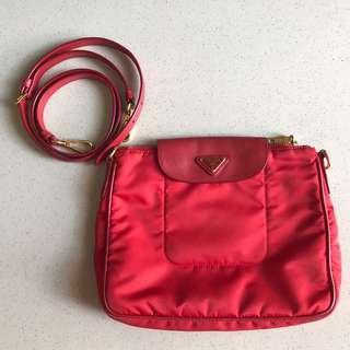 PRADA Nylon Clutch in Red