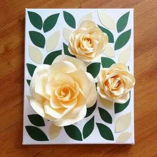 3D Paper Flowers Canvas Wall Decoration
