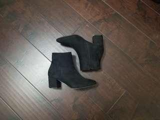 Black suede booties from Steve Madden