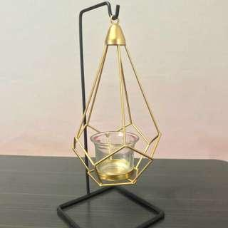 Geometric nordic hanging candle holder in gold