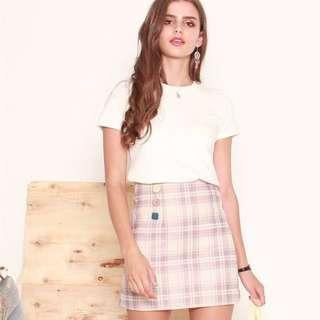 🚚 Anticlockwise Pastel Button Skirt in Lilac