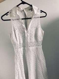 Guess cotton white midi dress size US 0 AU 6-8