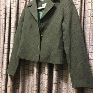🚚 墨綠短版西裝外套 貴婦 專櫃 復古 古著