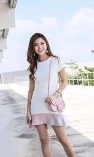 Colorblock Flutter Dress (White)