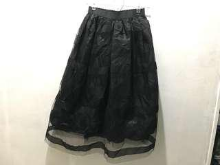 Black see through with inner cloth skirt