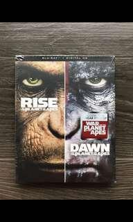 Blu Ray - 2 movies set - Rise & Dawn of the Planet of the Apes