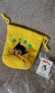 小飛俠阿童木 黄色毛巾布料束繩袋
