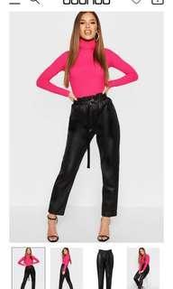 NEW Boohoo Petite High Waisted Paperbag PU Trousers