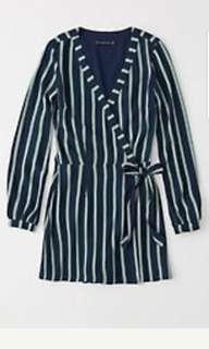 🚚 Ambercombie   Womens  Wrap-Front Skort Romper   Color:NAVY BLUE STRIPE