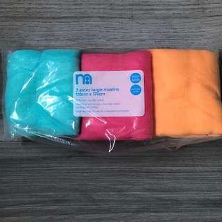 🚚 Mothercare extra large muslins 120x120cm 3pcs