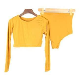 Crop Top Rash Guard Mustard