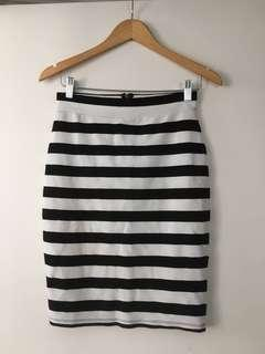 $10 SALE Portman's stripe midi pencil work skirt - Sz S
