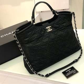 🖤Super Good Deal!🖤 Chanel Quilted Tote in Black Iridescent Calfskin SHW