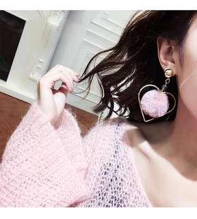 🚚 Gold Pink Pom Pom Fluffy Earrings