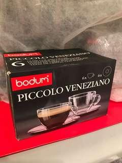 Bodum PICCOLO VENEZIANO glass cup and saucer 濃縮咖啡杯連碟套裝