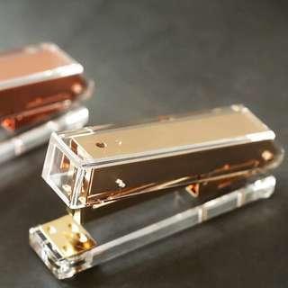 🚚 Clear Rose Gold Acrylic Stapler + Free Rose Gold Staple Bullets