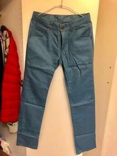 🚚 全新 英倫紳士  藍灰色 韓版修身slim fit 小直筒褲 工作褲 休閒褲 休閒正式百搭 低腰褲
