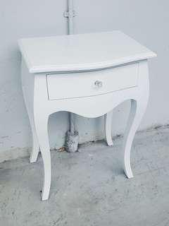 Solid White Mahogany Side Table 1 drawer