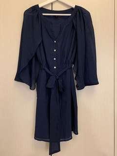 🚚 🛍二手衣大拍賣🛍 #Le Polka #雪紡洋裝 #深藍/靛色