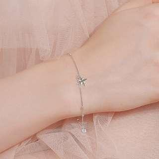 925 Sterling Silver Eight Pointed Star Bracelet