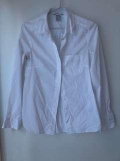 HnM plain white collared shirt
